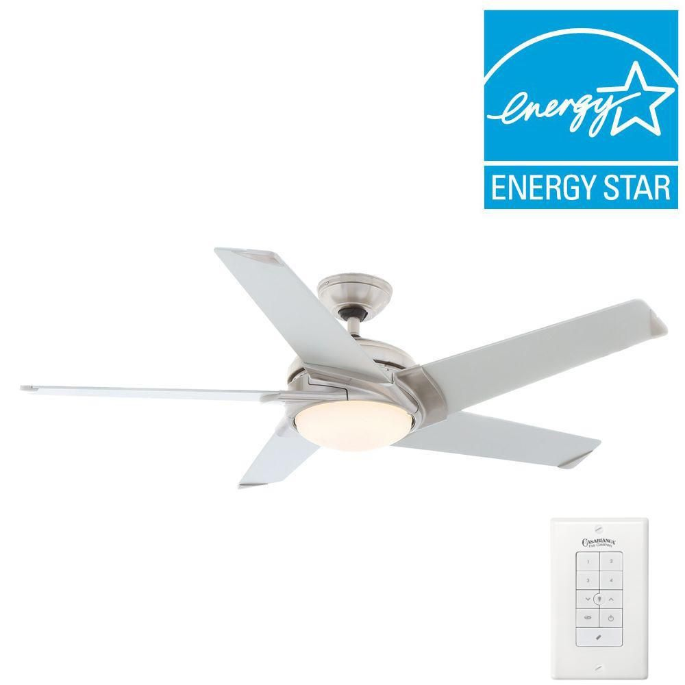 Casablanca stealth 54 in indoor brushed nickel ceiling fan with casablanca stealth 54 in indoor brushed nickel ceiling fan with light kit and universal wall aloadofball Gallery