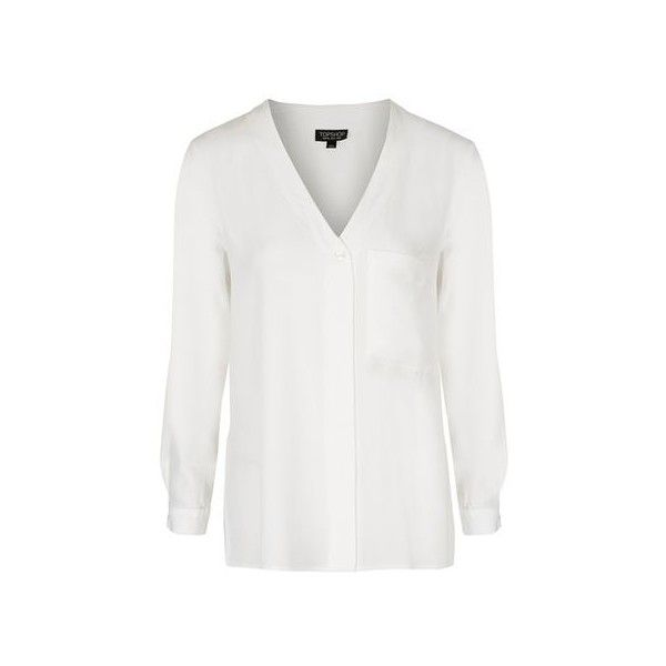 Topshop Longsleeve Slouchy Pocket Shirt (€41) ❤ liked on Polyvore featuring tops, ivory, plunging v neck top, v neck shirt, oversized button-down shirts, oversized long sleeve shirts and oversized shirt