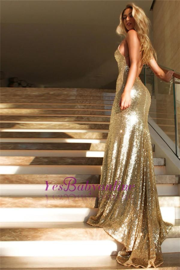 Sexy Gold  Prom Dress Sleeveless Sequins V-Neck Mermaid Backless Evening Gowns #modestprom