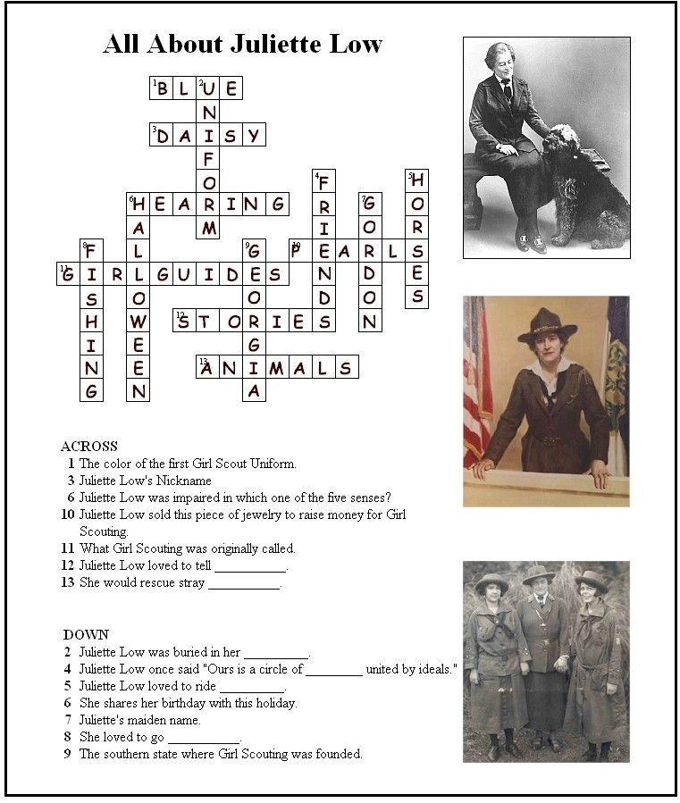 Answer Key For Juliette Low Crossword Puzzle Girl Scout Badges