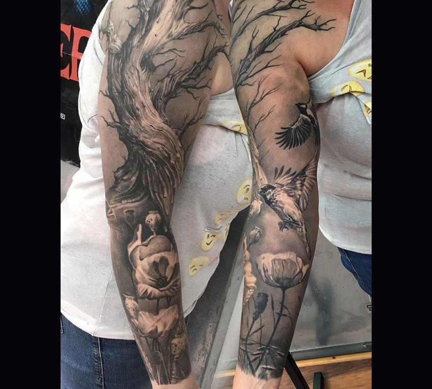 Tattoo Ideas Photo Tree Sleeve Tattoo Floral Tattoo Sleeve Tattoo Sleeve Designs