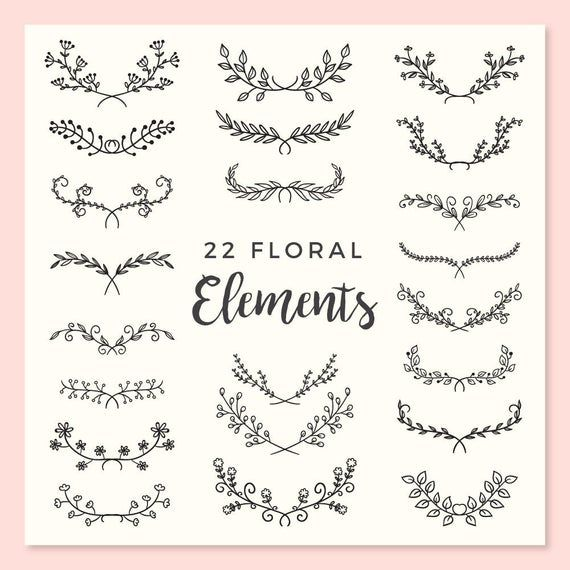 Photo of 22 Hand Drawn Floral Elements – Leaves, Plants, Nature, Flourish, Branches, Floral Clipart, Wedding, Flowers, Invitation – INSTANT DOWNLOAD