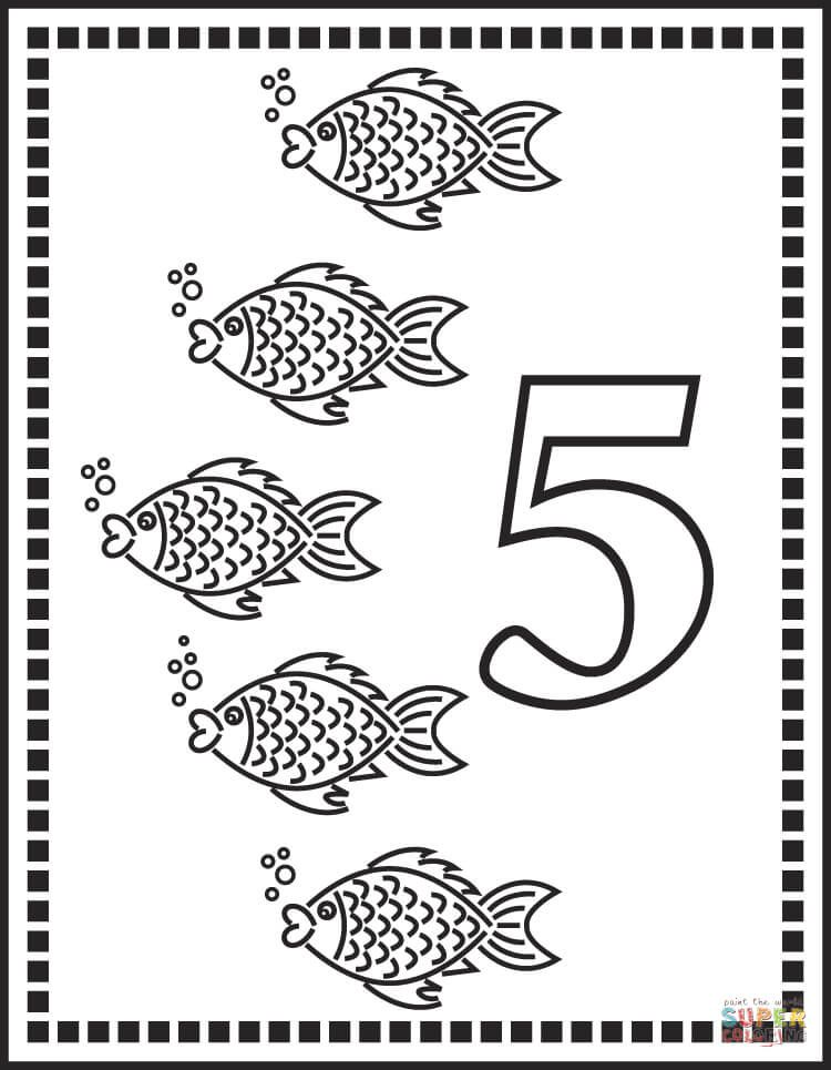 Number 5 Or Five Fishes Coloring Page From Counting Animals With Numbers 1 5 Category Select From 29179 Free Coloring Pages Coloring Pages Fish Coloring Page