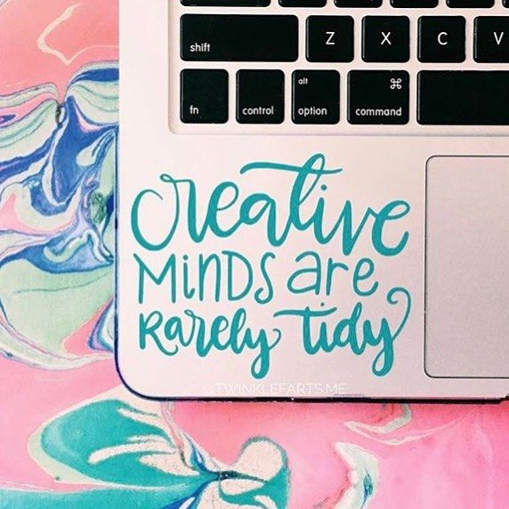Such a cute little decal from @twinklefarts.me and I have a whole messy craft room that agrees with this quote!