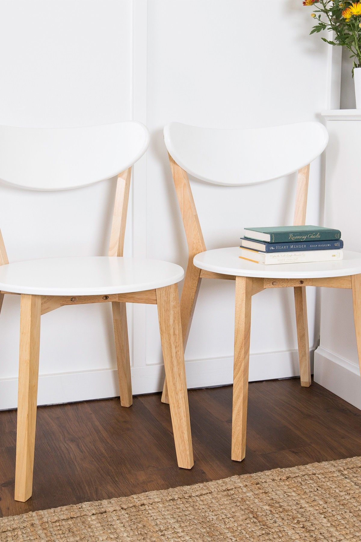 White Retro Modern Wood Kitchen Dining Chairs Set of 2 by Walker