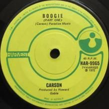 BOOGIE (PART ONE) / BOOGIE (PART TWO) | CARSON | 7 inch single | $30.00 AUD | music4collectors.com