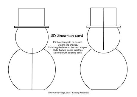 3d Snowman Card Template Snowman Cards For Kids Christmas Snowman Snowman Crafts