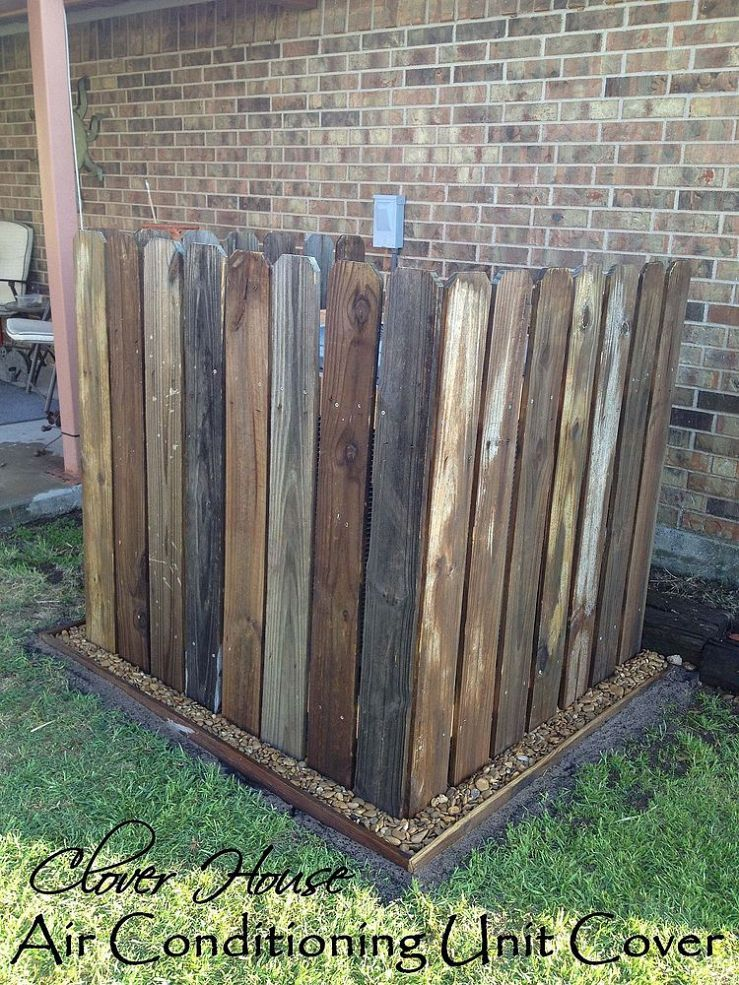 Beautify an outdoor A/C with repurposed vintage fence pickets.