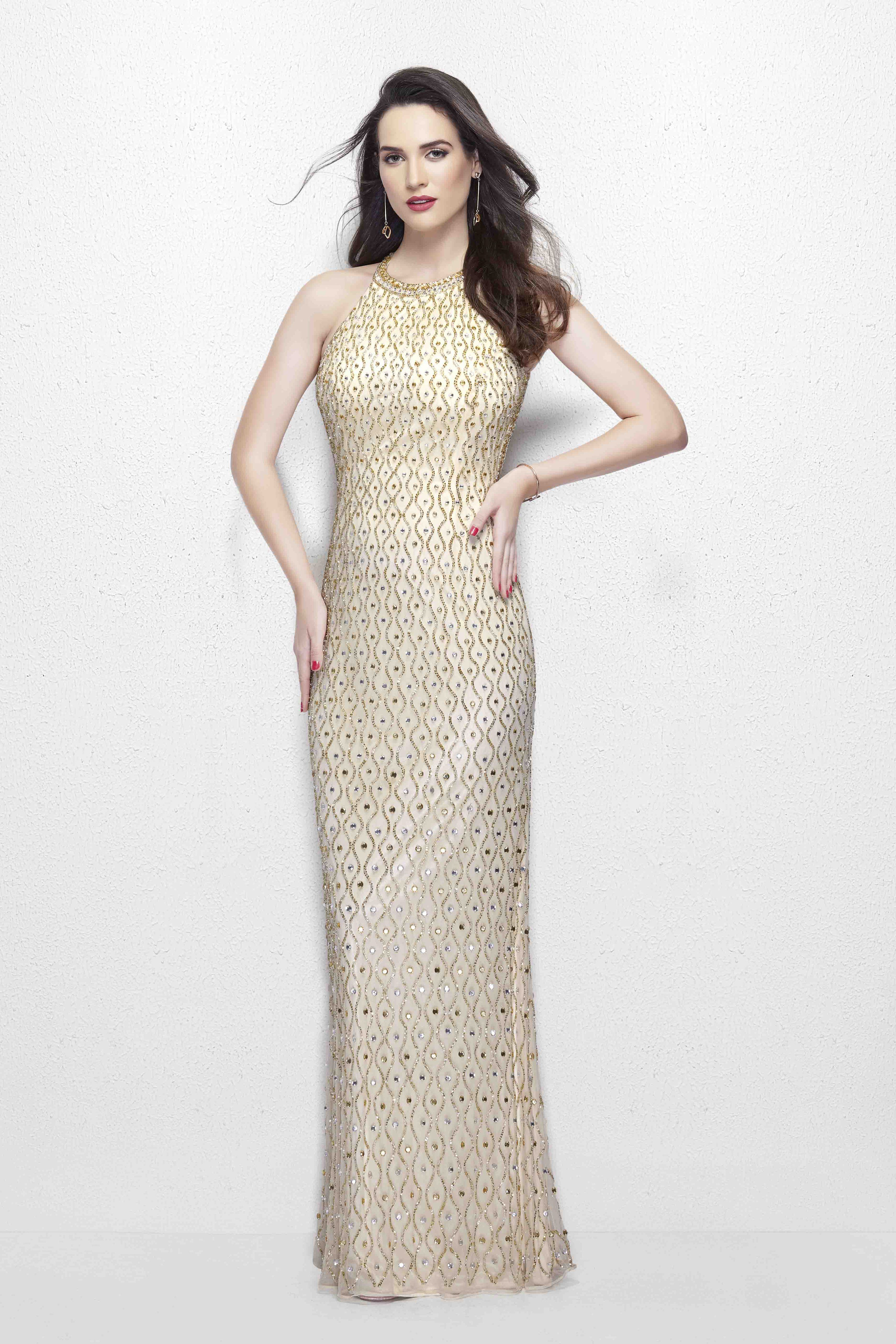 0fb68809889 Primavera Light up the night wearing this gorgeous evening gown. This dress  has a high neckline speckled with eye catching shiny stones