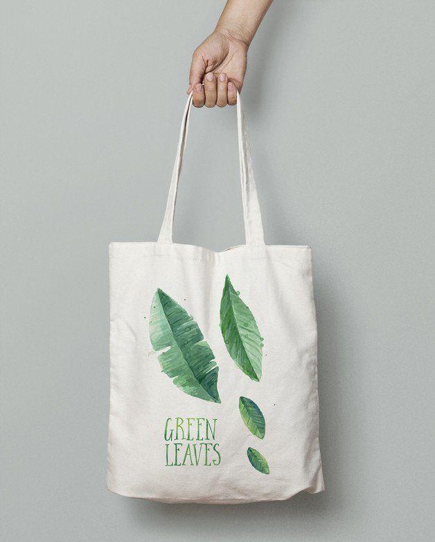 efcab822c Bolsas - Eco bag Green leaves - hecho a mano por StudioAgama en DaWanda # bolsos #clutch #bag #DaWanda #hechoamano #handmade #diseño