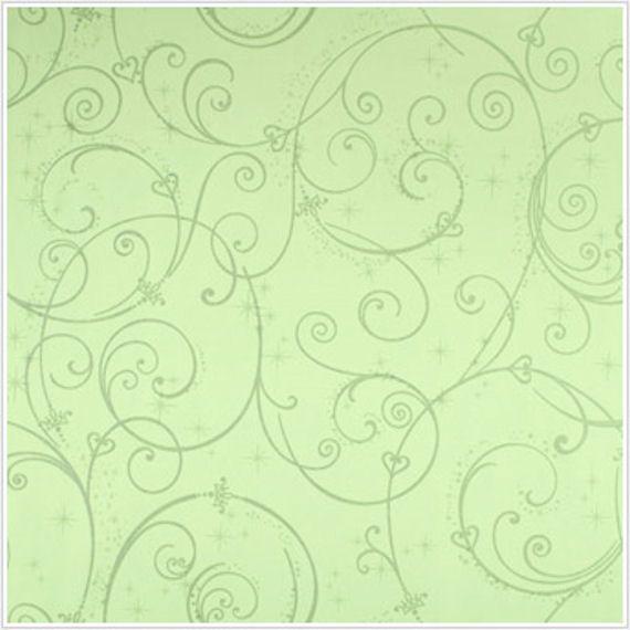 Perfect Princess Green Glitter Scroll Wallpaper Wall Sticker Mural Decal Designs At Outlet