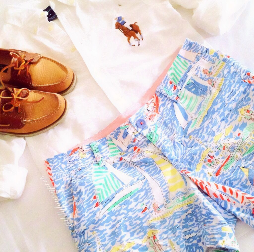 Lilly Pulitzer Get Nauti Callahans & White Embroidered Ralph Lauren Oxford Button Up. Women's fashion, preppy, nautical, sperry, preppy style, OOTD, inspiration. Pinspiration.