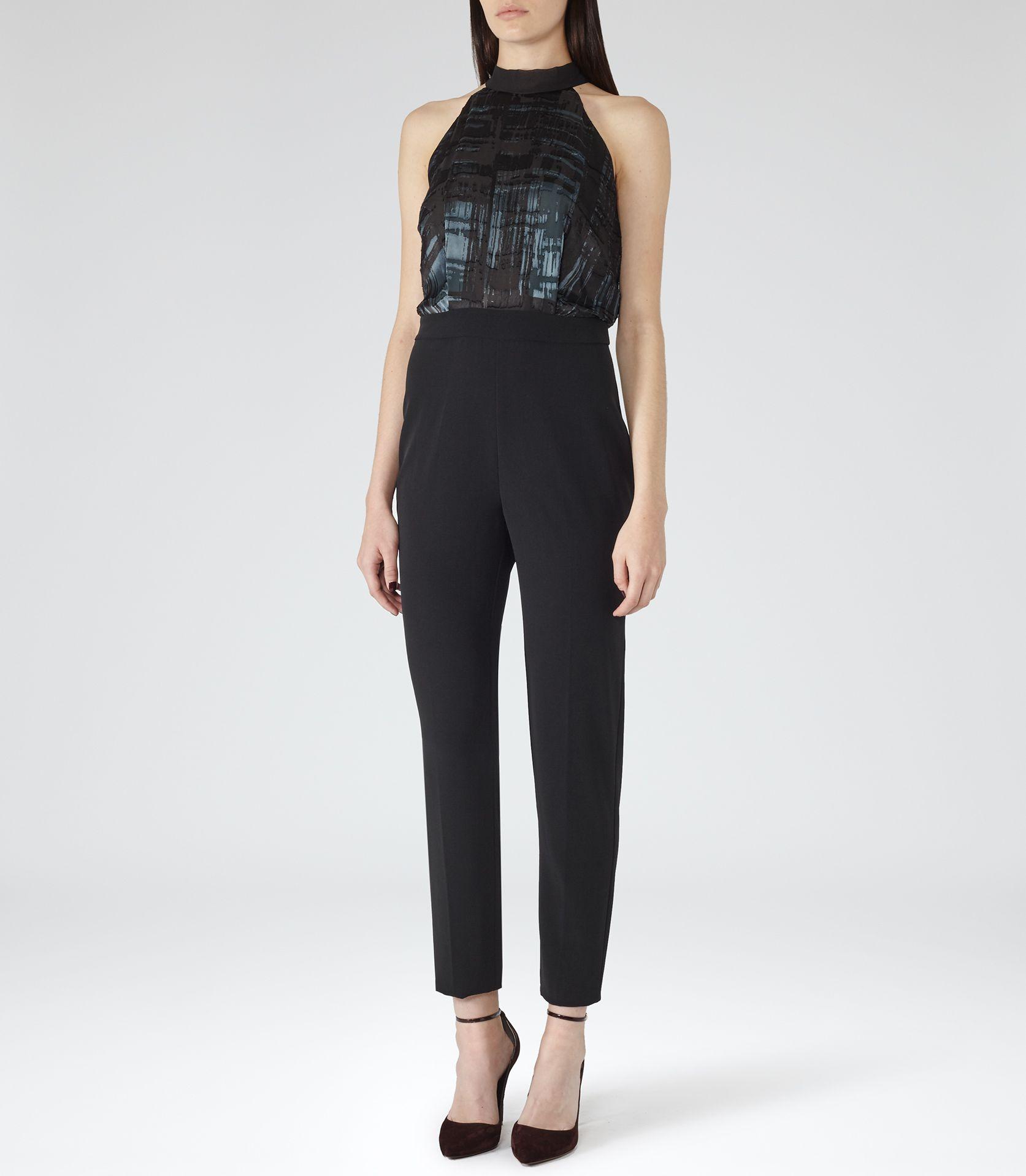 d5b70312c247 Womens Black Tie-neck Jumpsuit - Reiss Gray