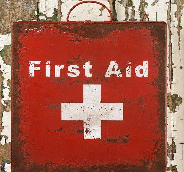Distressed Metal First Aid Box Antique Farm House
