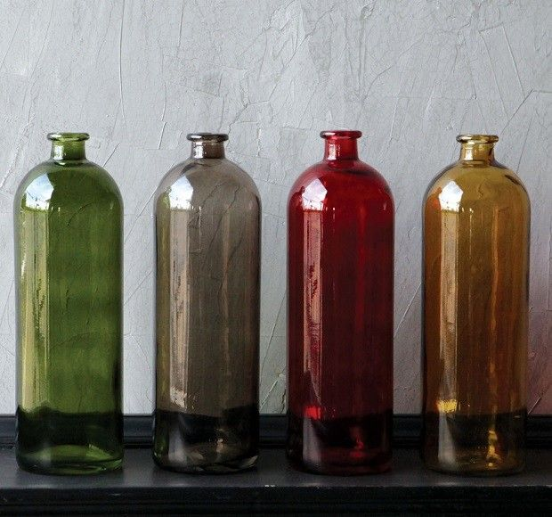 Glass Bottles Decorative Tall Decorative Glass Bottles Set Of 4  Decorative Glass Bottles