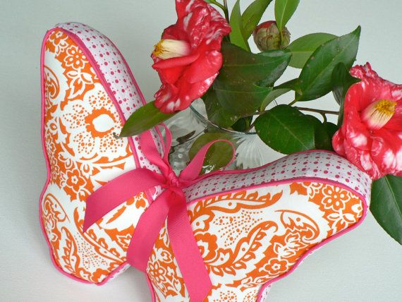 Butterfly Pillow Bright Pink and Orange by CecilClyde on Etsy, $40.00