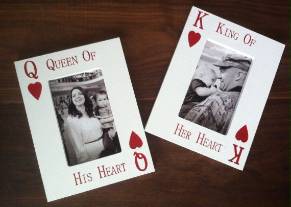 laser engraved picture frame king of her heart queen of his heart cards