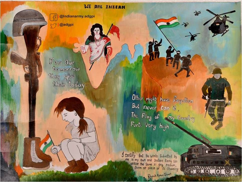 Adg Pi Indian Army On Painting Competition Army Drawing Earth Day Drawing