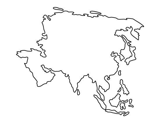 Asia Continent Stencil Made from 4 Ply Mat by ...