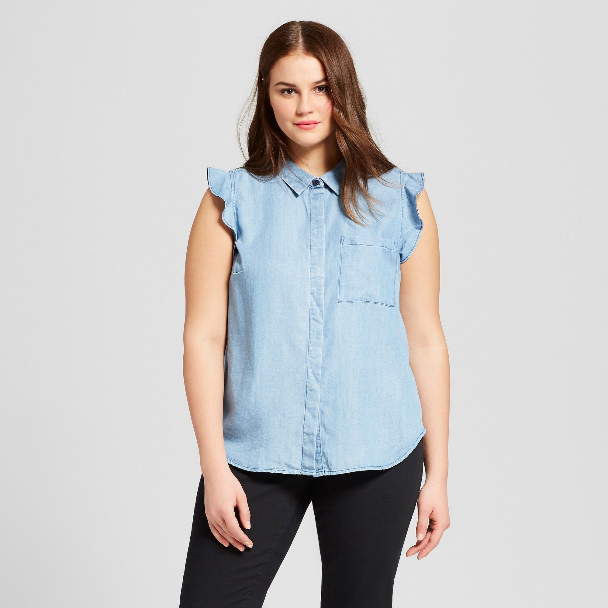 55a7a66a Women's Plus Size Sleeveless Ruffle Button-Up Blouse - Who What Wear  Chambray 1X