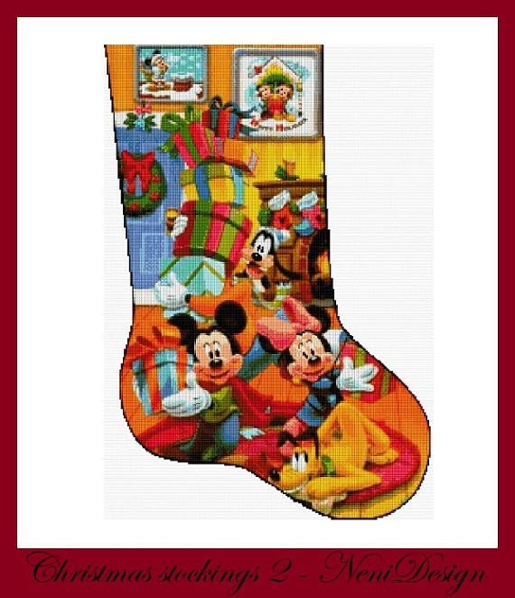 Disney Cross Stitch Christmas Stocking Patterns.Christmas Stockings 2 Cross Stitch Pattern Disney