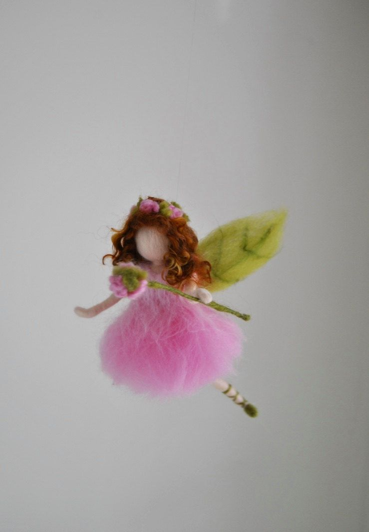 Girls room ornament needle felted wool mobile pink flower fairy by needle felted wool mobile pink flower fairy by magicwool on etsy httpsetsycalisting397997139girls room ornament needle felted wool mightylinksfo