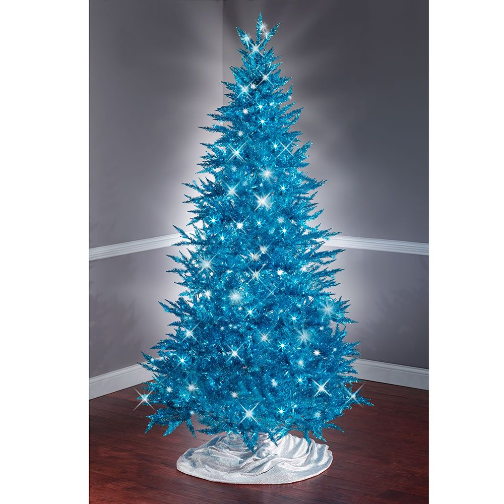 The 7 1 2 Foot Teal Tinsel Tree Hammacher Schlemmer Christmas