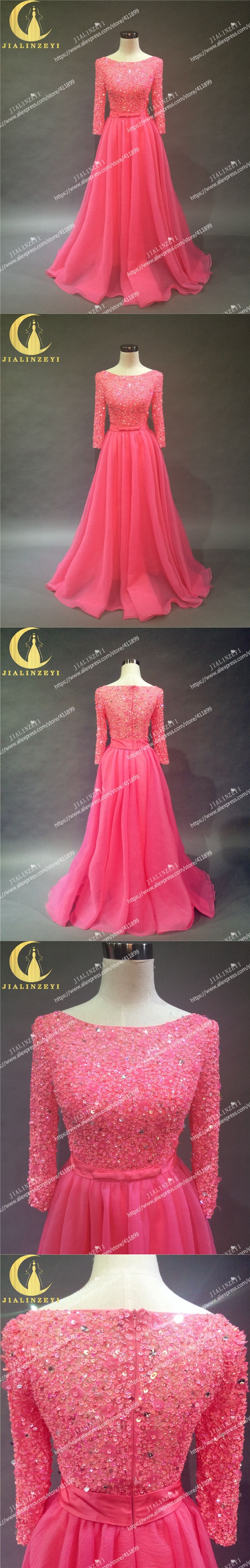 959defef765 Formal · Rhine Real Sample Image Long Sleeves watermelon red Full Hand  Beads A-line Floor Length