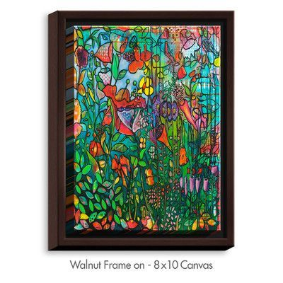 """DiaNocheDesigns 'Serendipity' by Kim Ellery Painting Print on Wrapped Framed Canvas Size: 17.75"""" H x 13.75"""" W x 1.75"""" D, Frame Color: Walnut"""