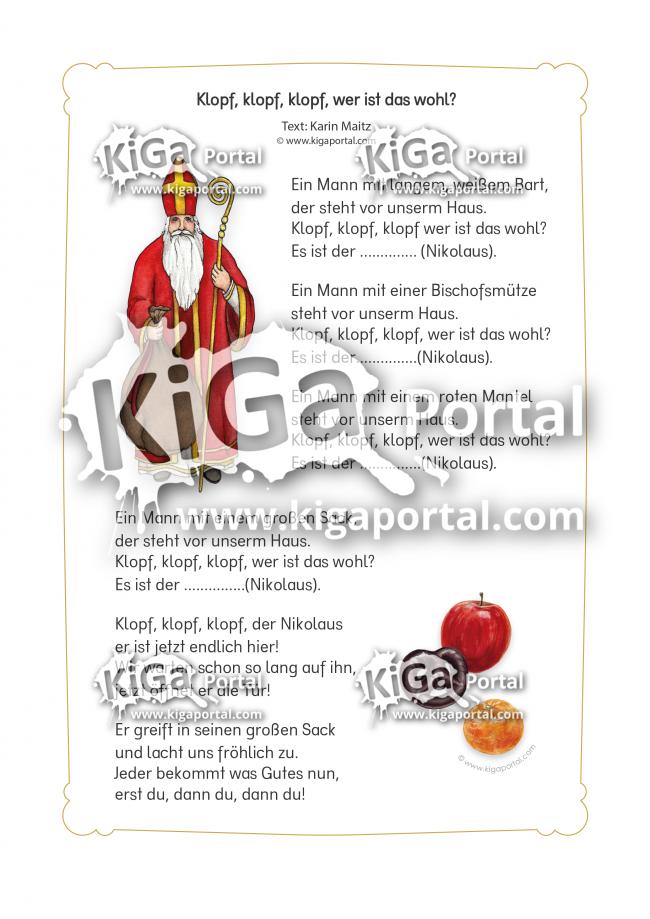 Kigaportal Kindergarten Weihnachten Advent Nikolaus Gedicht