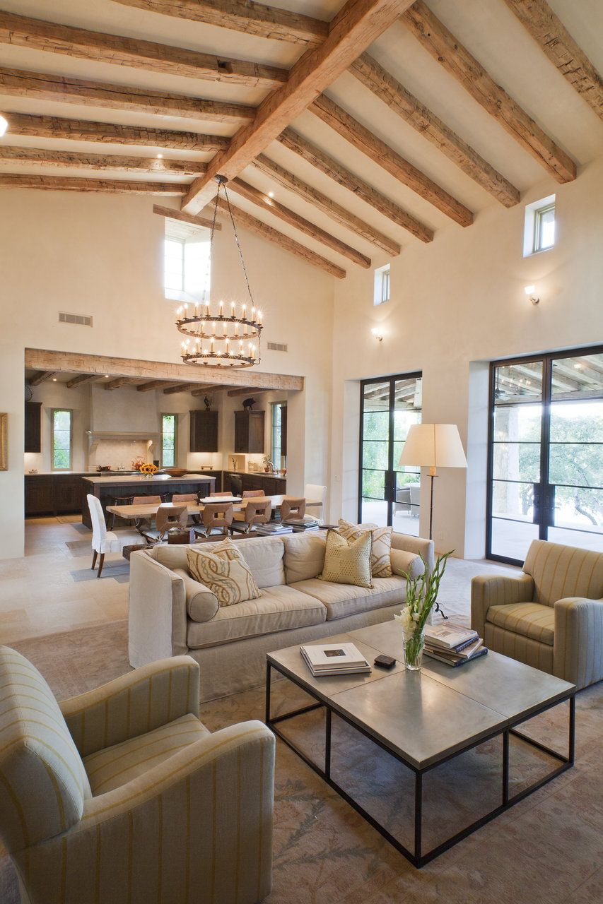 Elegant Great Room: Open Concept Kitchen, Living, Dining Room. Contemporary Rustic.  Pedernales