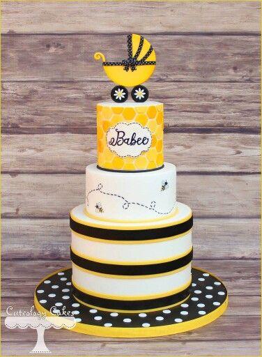 Yellow And Black Bee Theme Baby Shower Cake Baby Shower Baby