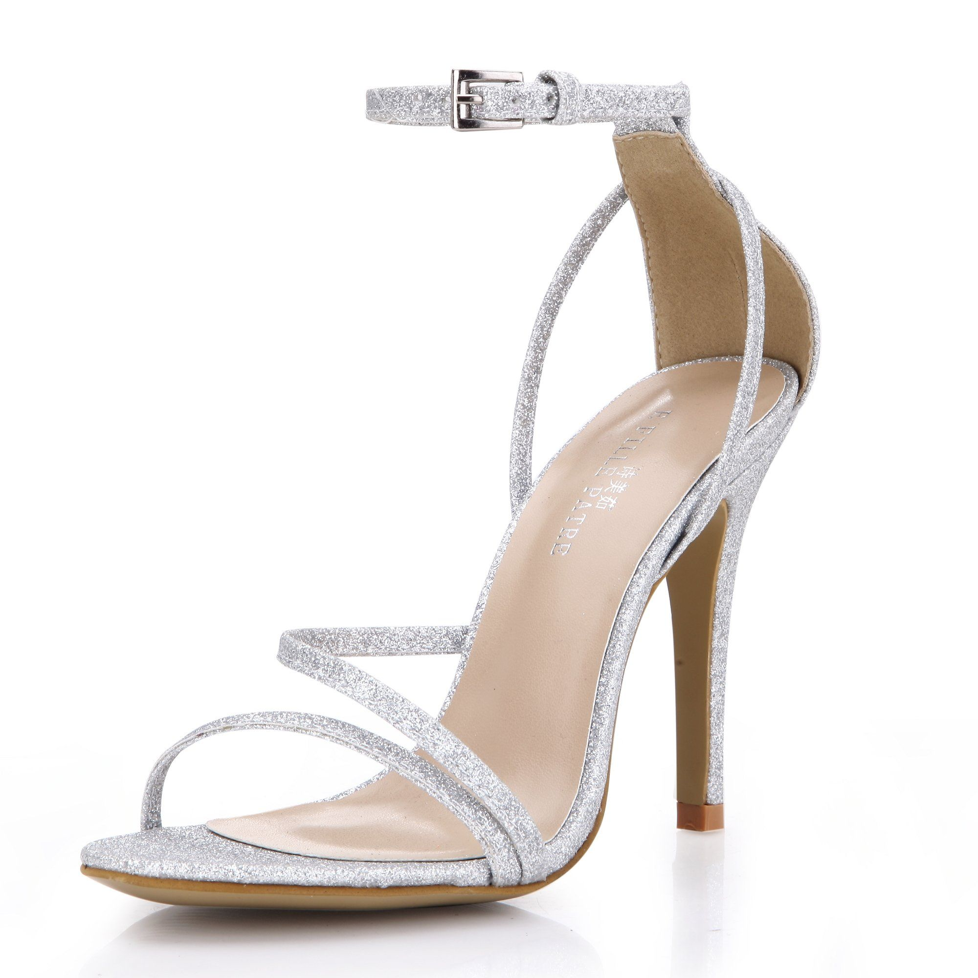 e92af8f76381 Dolphin Girl Women Extreme High Fashion Silver Simple Elegant Classic Open  Toe Sandal Dress Pump Heeled Thin Heels Strap Buckle Ankle Strap Strappy  Slightly ...