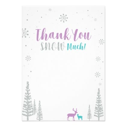 Purple Teal Silver Winter Party Thank You Note In 2018 Shower