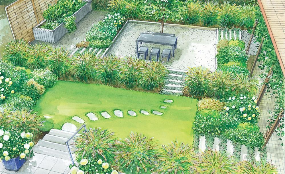 Einen Stadtgarten anlegen Granit palisaden, Palisaden und Weg - garten gestalten vorher nachher