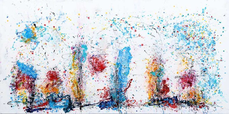 Eruption I Farverigt Abstrakt Maleri Staerke Farver Supervulkan I Udbrud I 2020 Abstract Painting Abstrakt Maleri Abstrakt