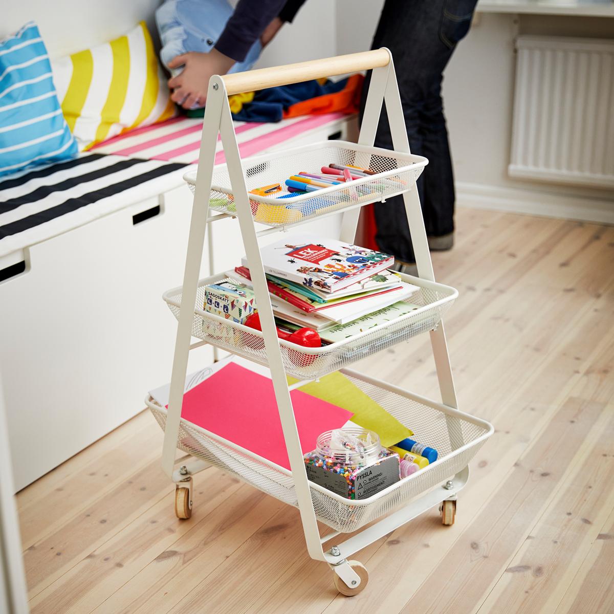 Risatorp Tekerlekli Servis Arabasi Ile Cocugunuzun Calisma Malzemelerini Tek Bir Alanda Depolayabilir Ve Cocugunuzun Is Utility Cart Ikea Ikea Storage Cabinets
