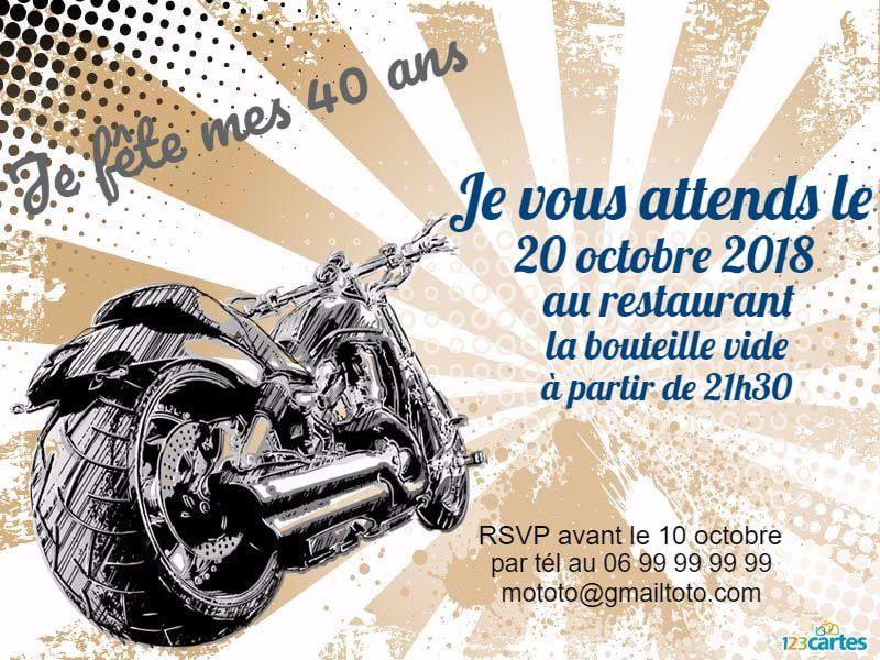 invitation anniversaire moto