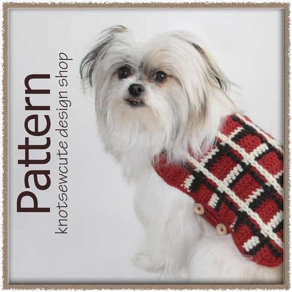 CROCHET PATTERN - Plaid Dog Sweater - Instant Download (PDF)
