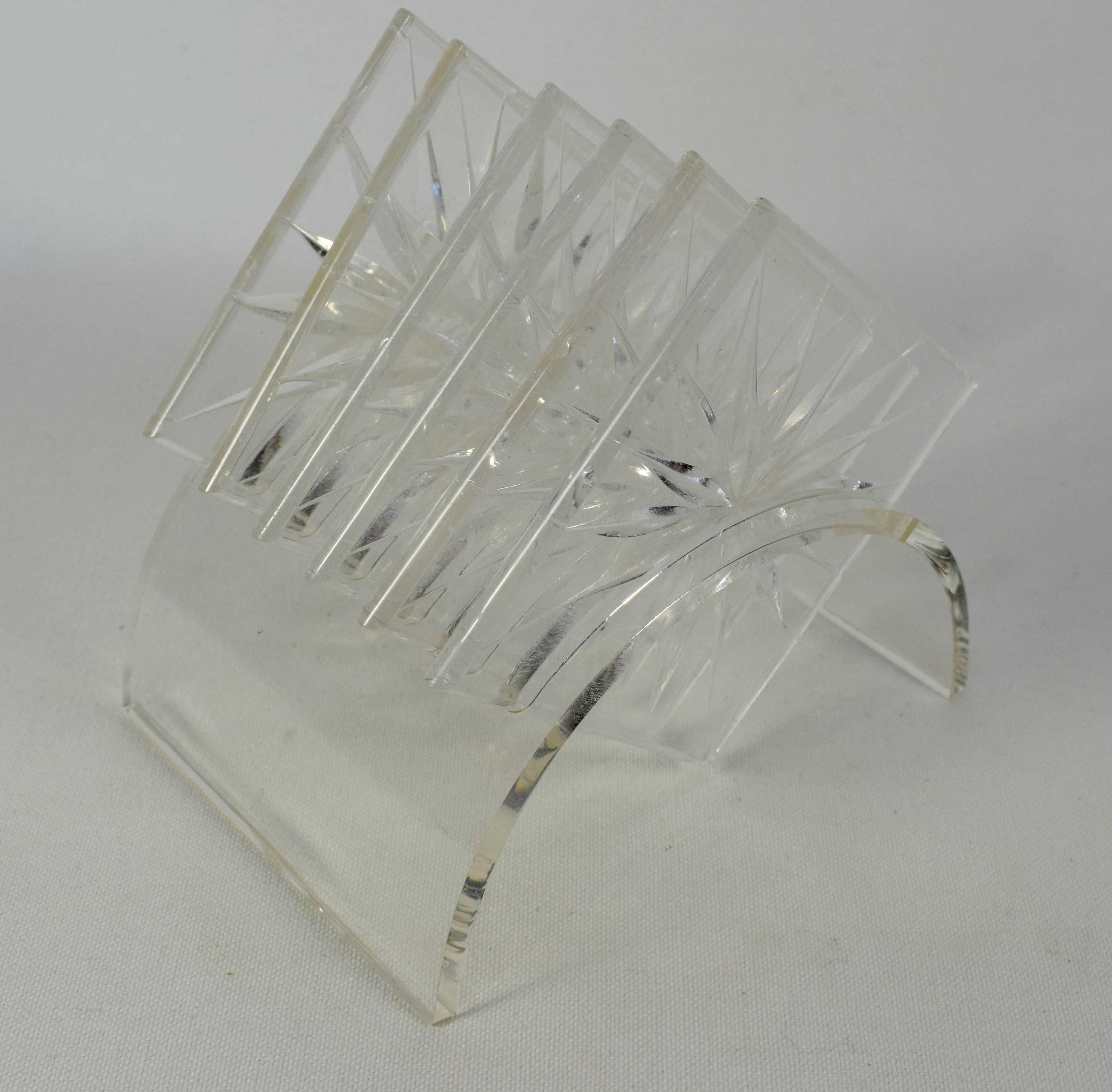 Lucite Set Of Six Starburst Coasters With Display Holder