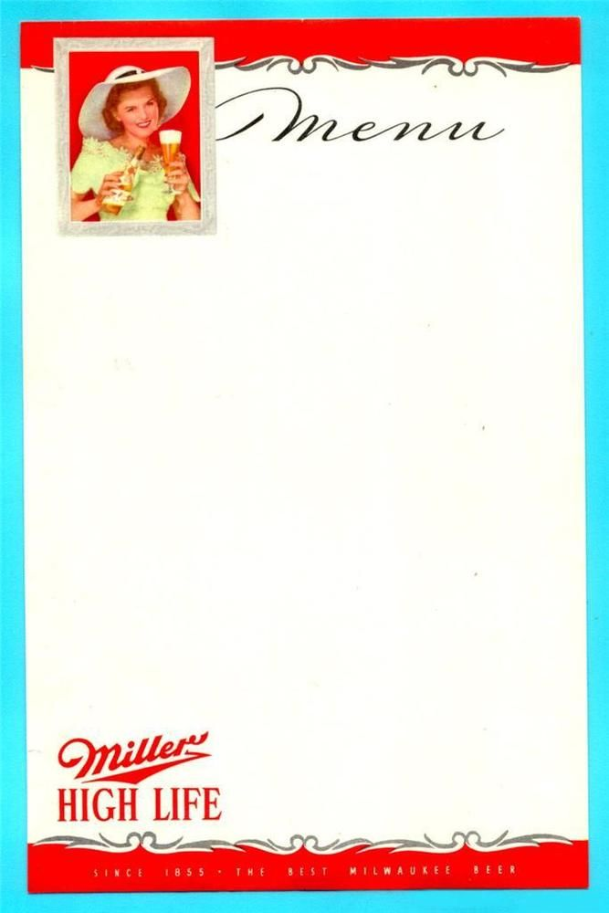 Milwaukee Wi  Miller High Life Beer Menu   S Era Nos