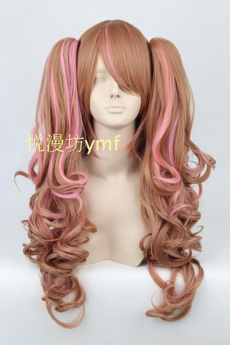 Lolita Pink Brown Wave 65cm Long With Chip Ponytails Cosplay Costume Wig,Synthetic Hair.Free shipping
