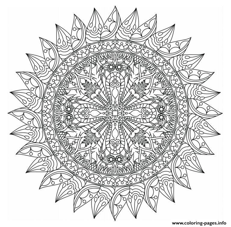 Print advanced mandala marvelous adults coloring pages