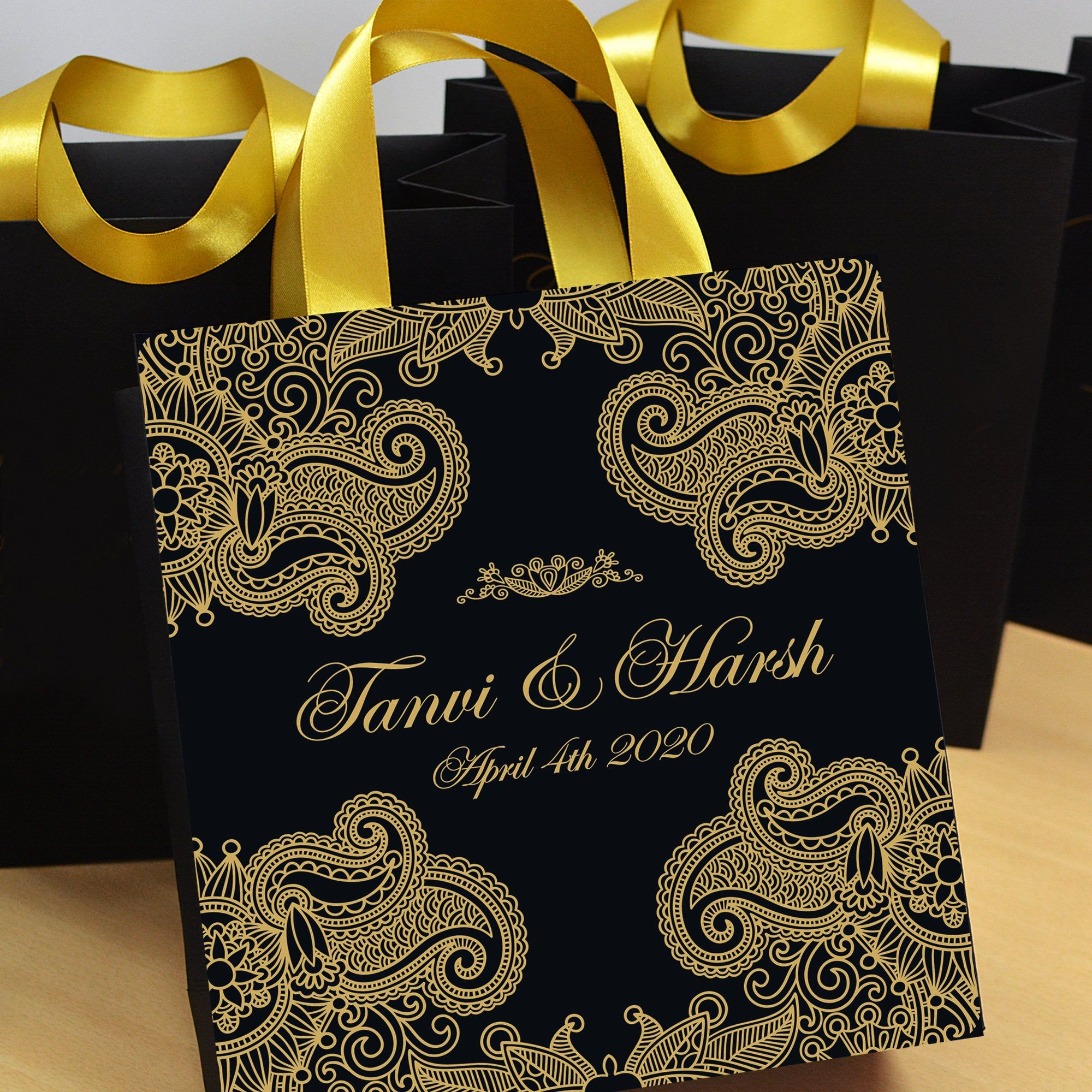 25 elegant black gold wedding bags personalized