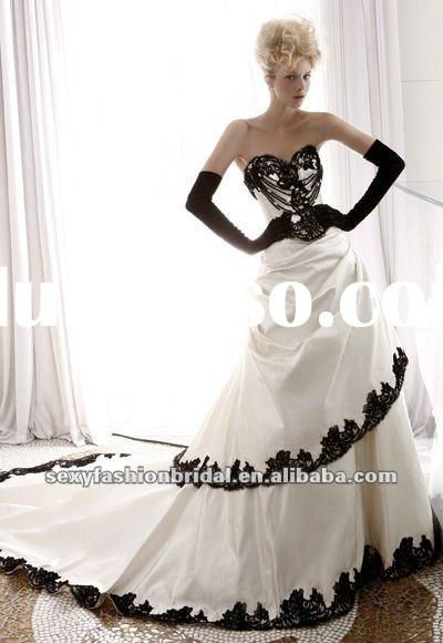 sweetheart lace applique accented ball gown black and white plus ...