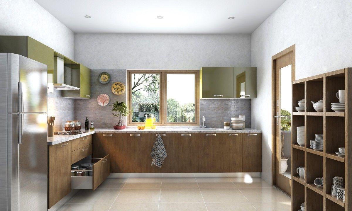 viola-l-shaped-modular-kitchen.jpg   Brown kitchens ...