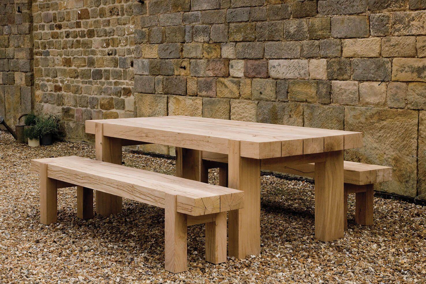 Outdoor Oak Bench Handcrafted By Indigo Furniture Wooden Garden Furniture Chunky Wooden Garden Furniture Indigo Furniture