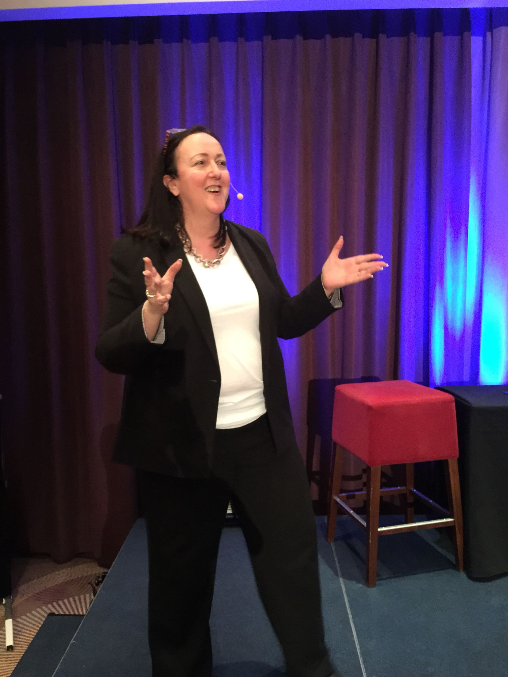 On stage at the Public Speakers University Http://www.carolefossey.com