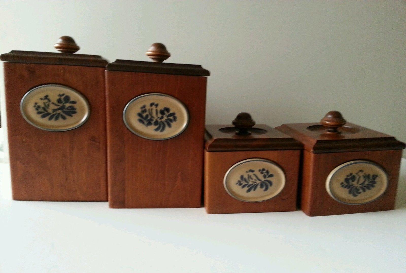 Four Piece Canister Set Vintage Set Of Four Slanted Glass Jars With Wood Tops In Wood Holder Cookie Jars Cookie Jars Vintage Glass Cookie Jars Glass Jars