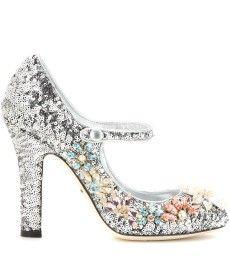 Dolce & Gabbana - Pompes à sequins de cuir avec cristaux - mytheresa.com